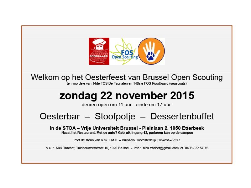 BOS oesterfeest uitnodiging